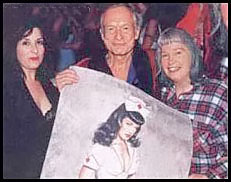 Bettie Page with Olivia the Artist, and Hugh Hefner of Playboy