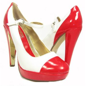 Red White Gold Rockabilly Maryjanes