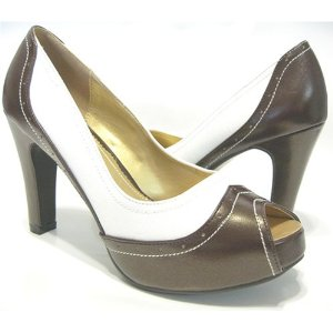 Brown & White Platform Peep-Toe Pumps Women