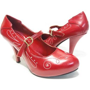 Red Rockabilly Pin Up Maryjane Pumps