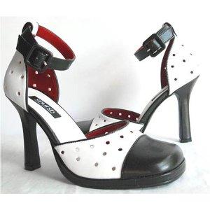 Black & White Rockabilly Shoes Anklet Wrap Pumps