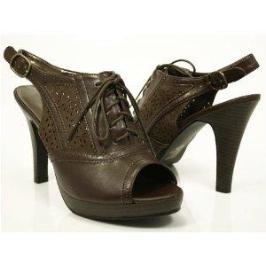 Brown Slingback Peep Toe Sandal Lace Up